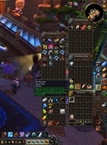 Screenshot of World of Warcraft backpack showing dit da jow